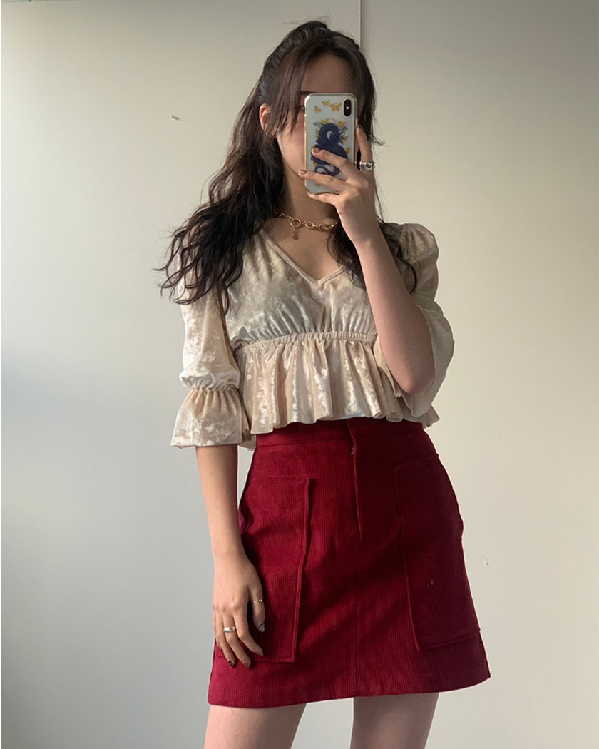 (20%SALE) Corduroy Pocket Skirt