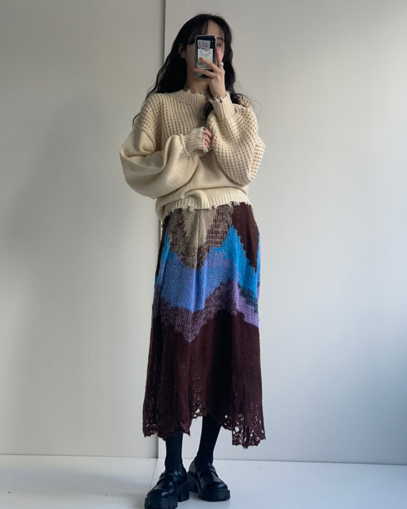 Dye Color Knit Skirt