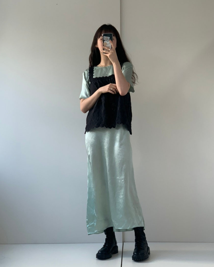 Mind Satin Long Dress